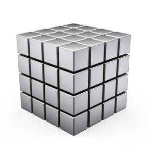 3D illustration of metal cube built from blocks